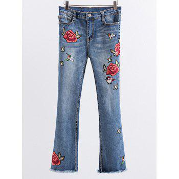 Flower Embroidered Frayed Boot Cut Jean