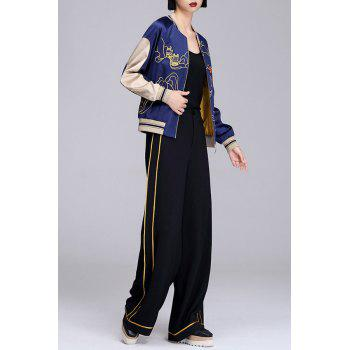 Embroidered Contrast Baseball Jacket - SAPPHIRE BLUE S