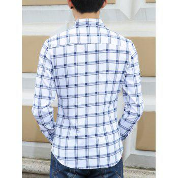 Turn-Down Collar Long Sleeves Checked Pattern Shirt - BLUE BLUE