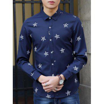Turn-Down Collar Long Sleeve Stars Pattern Shirt - SAPPHIRE BLUE SAPPHIRE BLUE