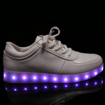 Trendy Tie Up and Lights Up Led Luminous Design Women's Athletic Shoes - WHITE 37