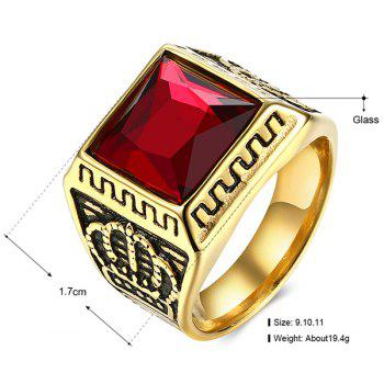 Crown Glass Embedded Ring - RED
