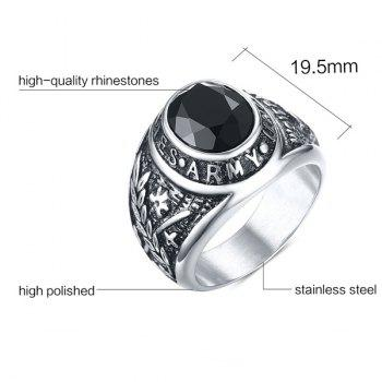 Engraved Leaf Alloy Rhinestone Ring - SILVER 8