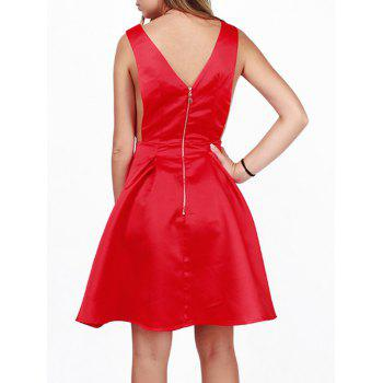 Découpez Out Zipper Conception Robe trapèze - Rouge S