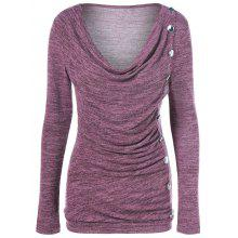 Side Button Cowl Neck Knitted Long Sleeve Sweater