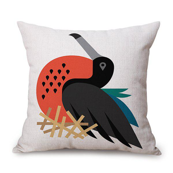 Cartoon Bird Animal Design Sofa Flax Cushion Pillow Case - OFF WHITE