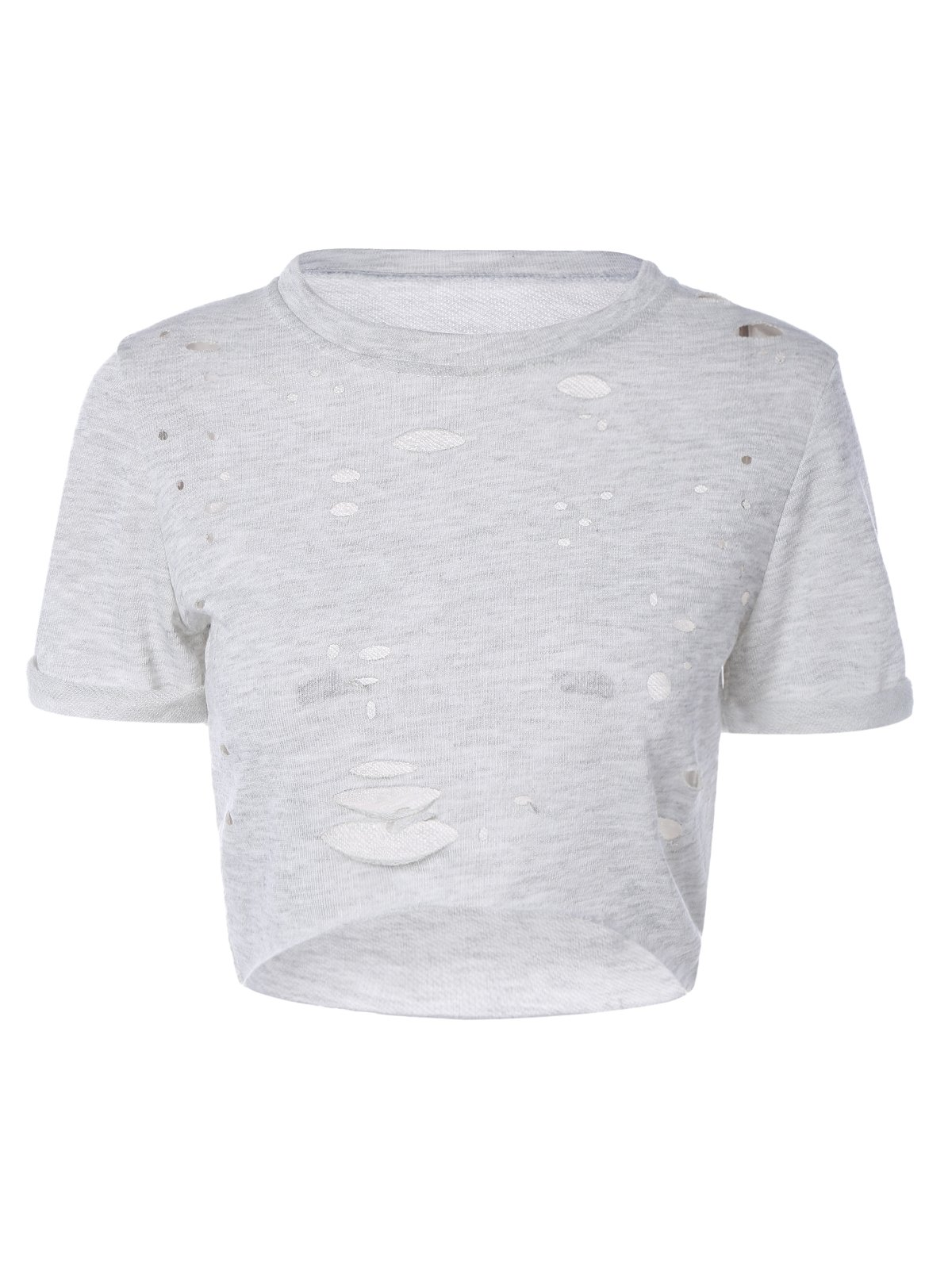 Ripped High-Low Cropped T-Shirt - GRAY M