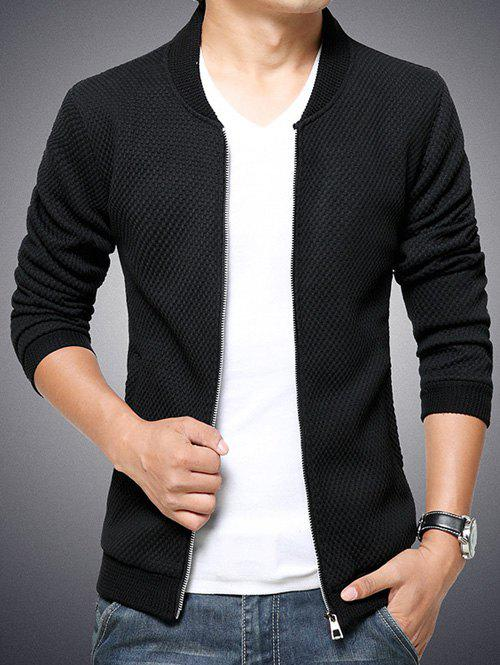 Stand Collar Knit Blends Plus Size Zip-Up Cotton-Padded JacketMen<br><br><br>Size: M<br>Color: BLACK
