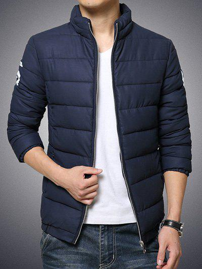 Stand Collar Geometric and Letter Print Plus Size Zip-Up Cotton-Padded JacketMen<br><br><br>Size: 2XL<br>Color: CADETBLUE