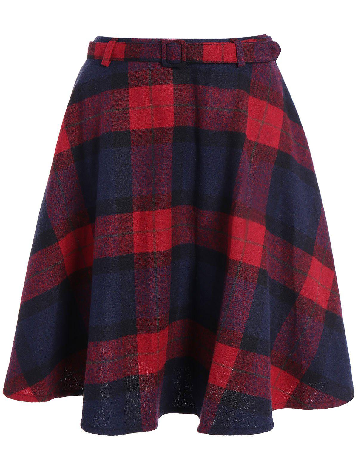 Pocket Design High-Waisted Plaid Skirt - RED L
