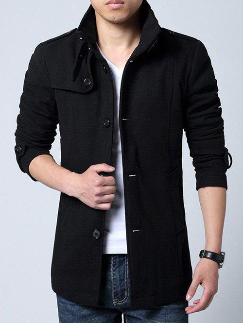 Stand Collar Single-Breasted Epaulet Embellished Woolen Coat - BLACK L