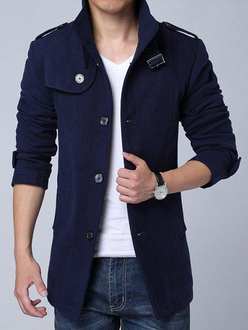 Stand Collar Single-Breasted Epaulet Embellished Woolen Coat - CADETBLUE XL