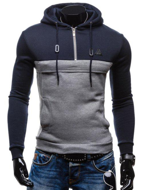 Zip Up Color Splicing Drawstring Pullover Hoodie - CADETBLUE 2XL