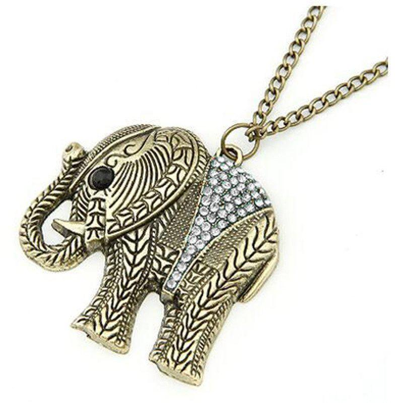 Vintage Rhinestone Elephant Sweater Chain -  COPPER COLOR