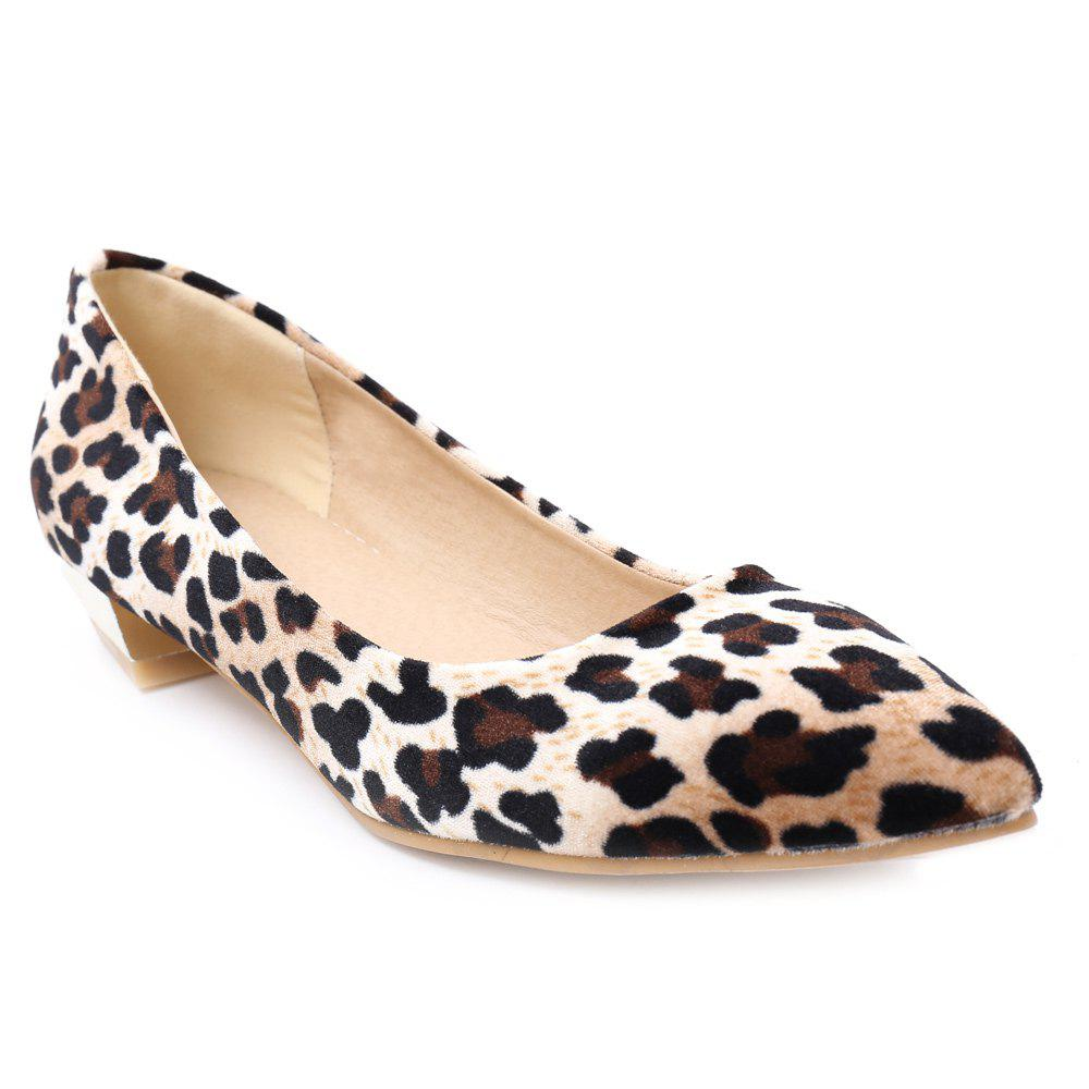 Simple Suede and Leopard Printed Design Women's Flat Shoes - YELLOW 38
