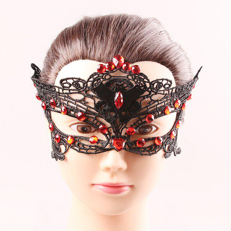 Bat Rhinestone Half Face Cut Out Lace Masks - BLACK