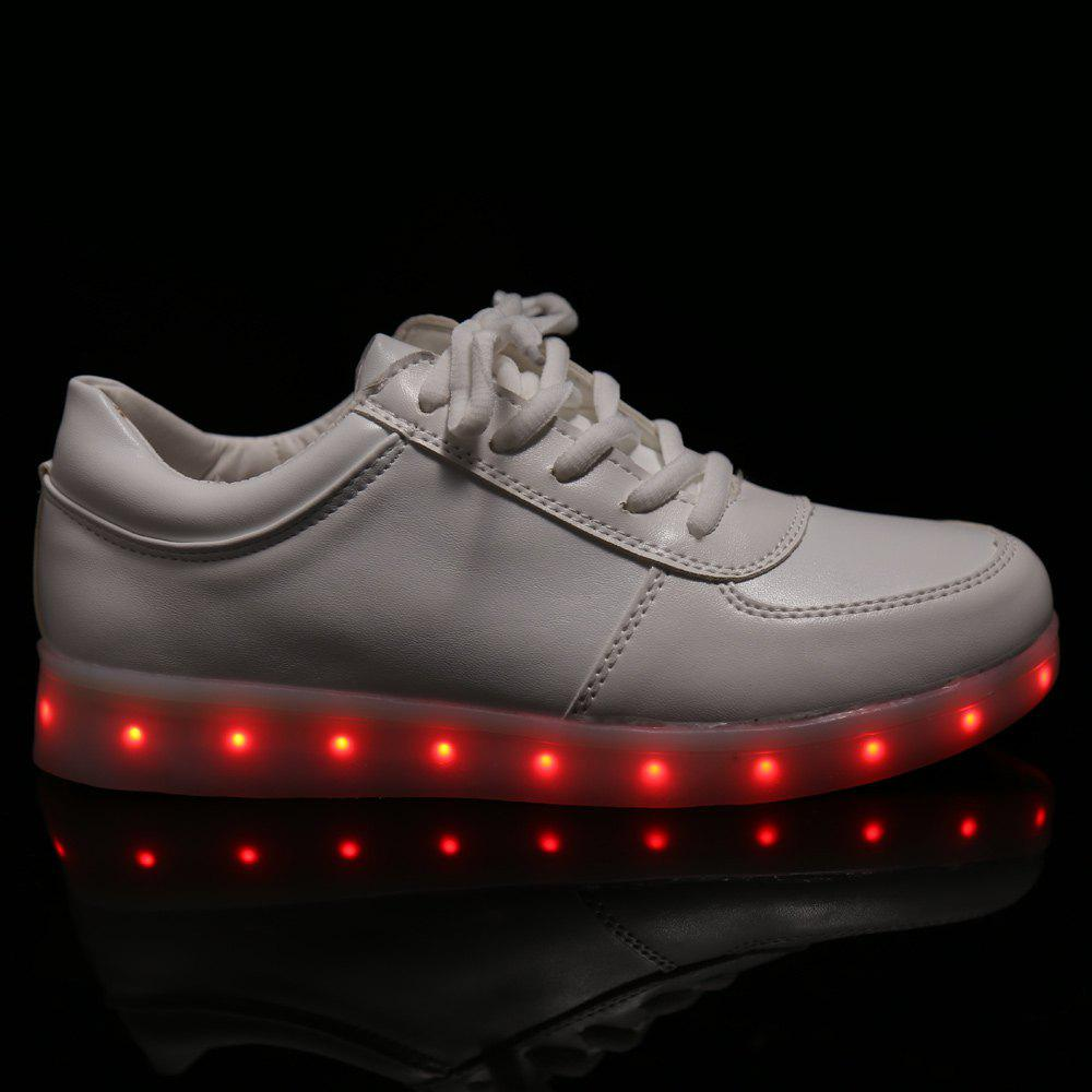 Trendy Tie Up and Lights Up Led Luminous Design Women's Athletic Shoes - WHITE 43
