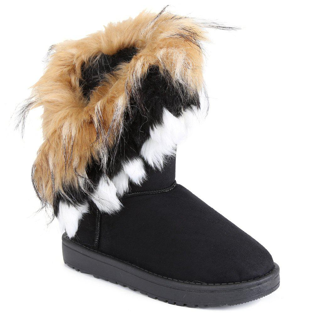 Elegant Faux Fur and Flock Design Snow Boots For Women