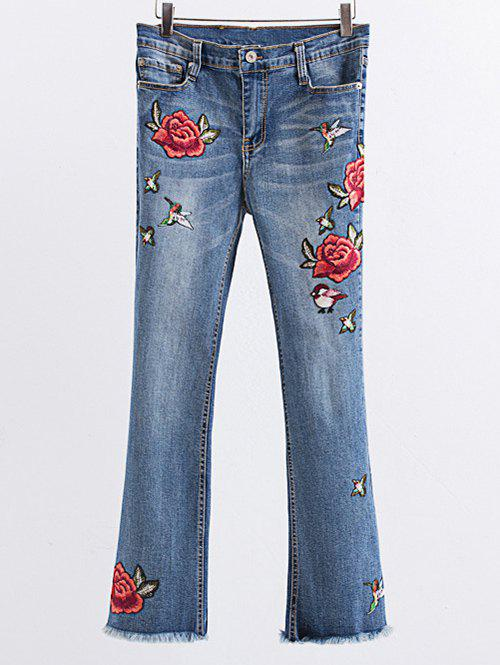 Flower Embroidered Frayed Boot Cut Jean - LIGHT BLUE S