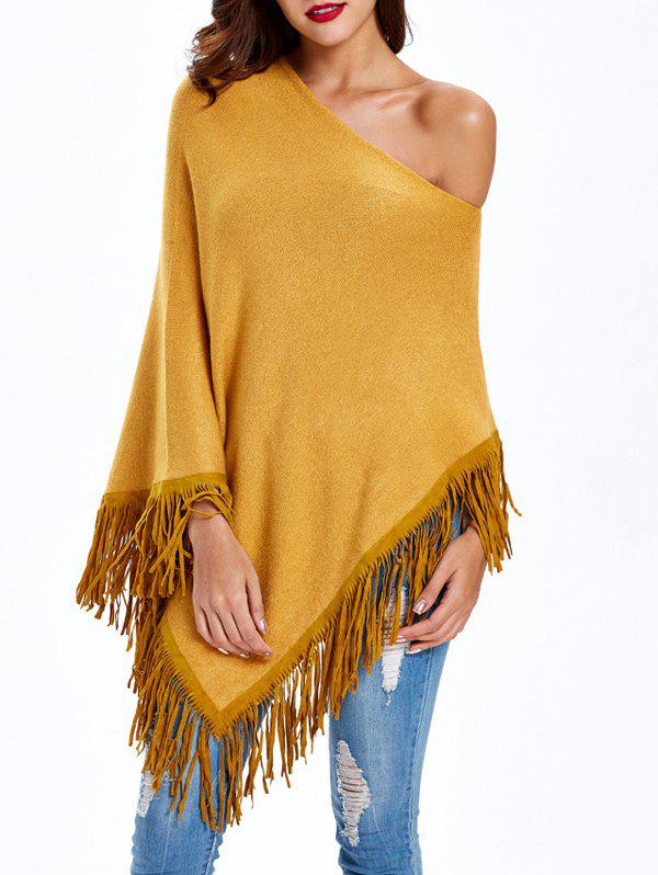 Asymmetrical Tassels CapeWomen<br><br><br>Size: ONE SIZE<br>Color: YELLOW