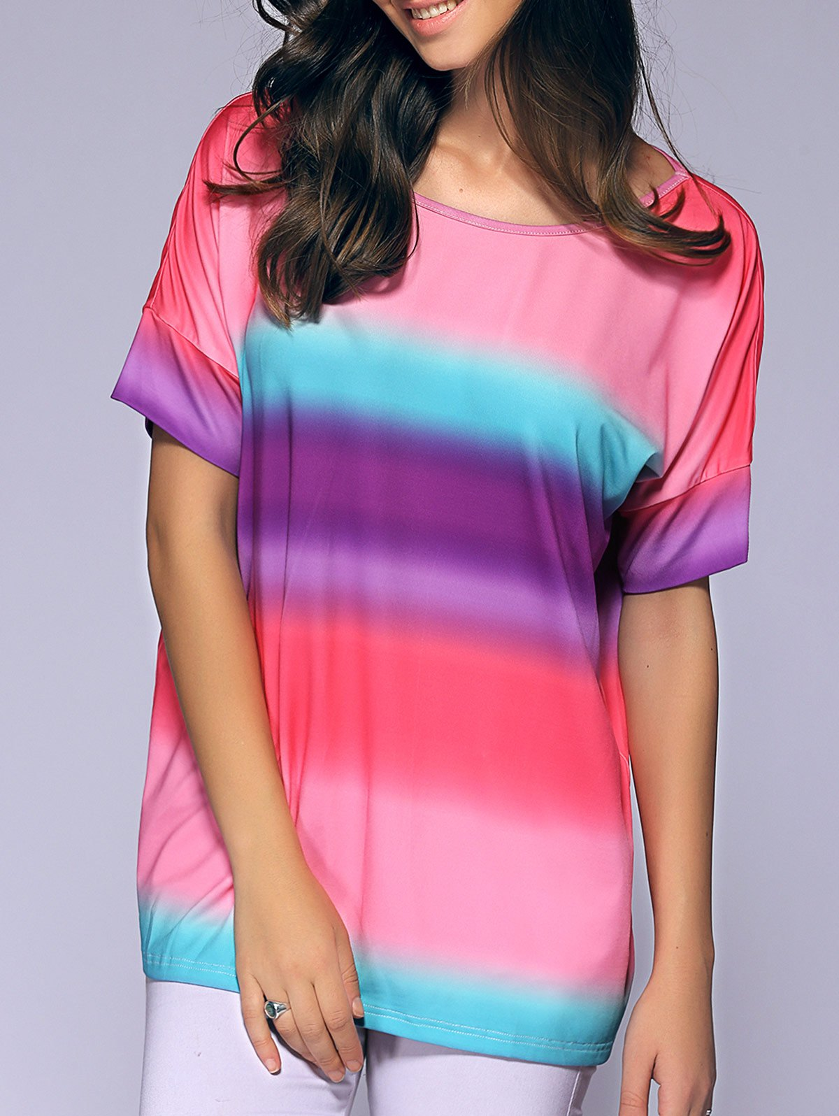 Short Sleeves Round Collar Tie-Dyed T-Shirt - XL COLORMIX