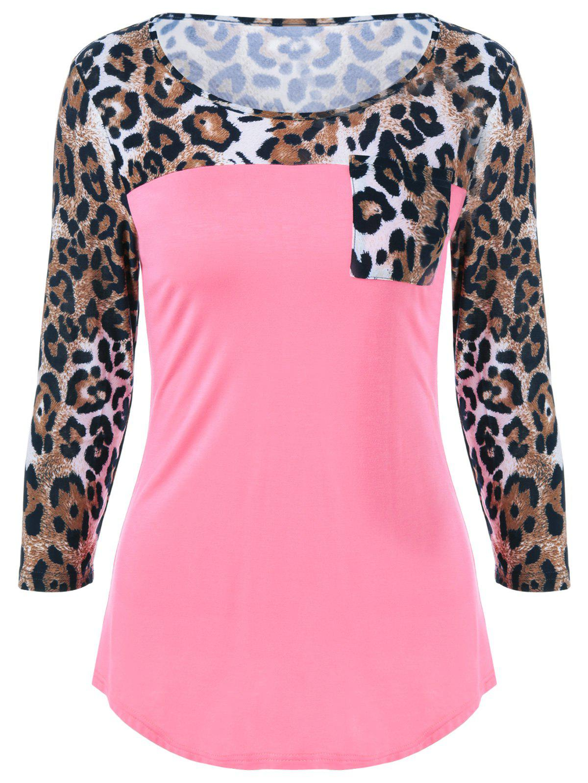 T-shirt simple Leopard de poche Imprimer - Rose Clair M