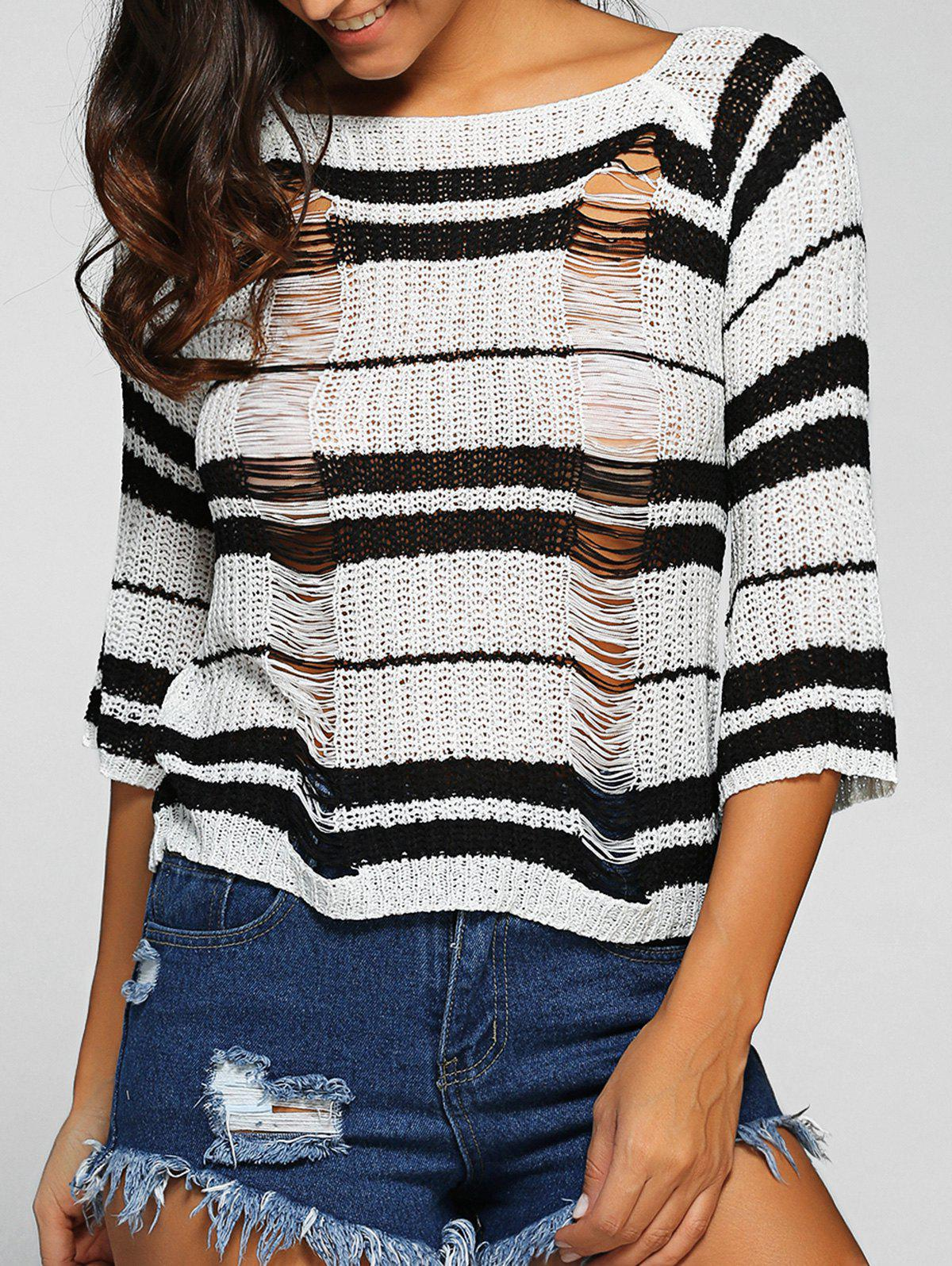 Round Neck Striped Ripped Sweater round neck striped ripped sweater