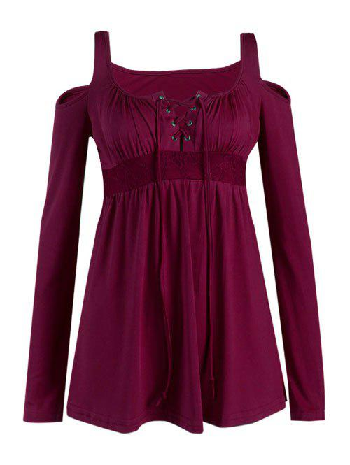 Buy Cut Lace-Up Blouse WINE RED
