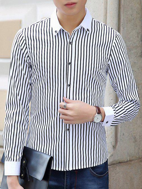 Turn-Down Collar Buttom-Down Vertical Stripe Pattern Shirt - BLACK XL