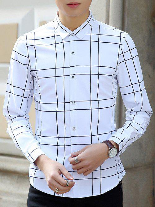 Turn-Down Collar Long Sleeves Checked Print Shirt - WHITE M