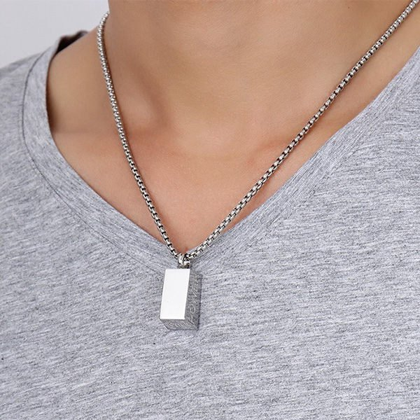 Stainless Steel Brick Letters Necklace, Silver