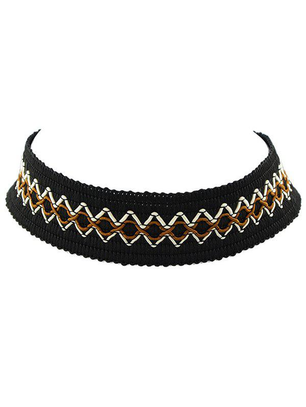 Faux Leather Velvet Geometric Woven Necklace faux leather velvet geometric woven necklace