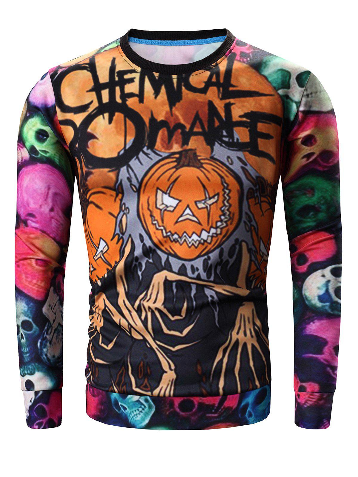 Round Neck Long Sleeve 3D Colorful Skull and Halloween Pumokin Print Sweatshirt - COLORMIX L