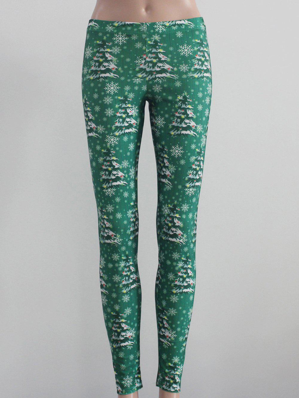 Tree and Snowflake Print Leggings