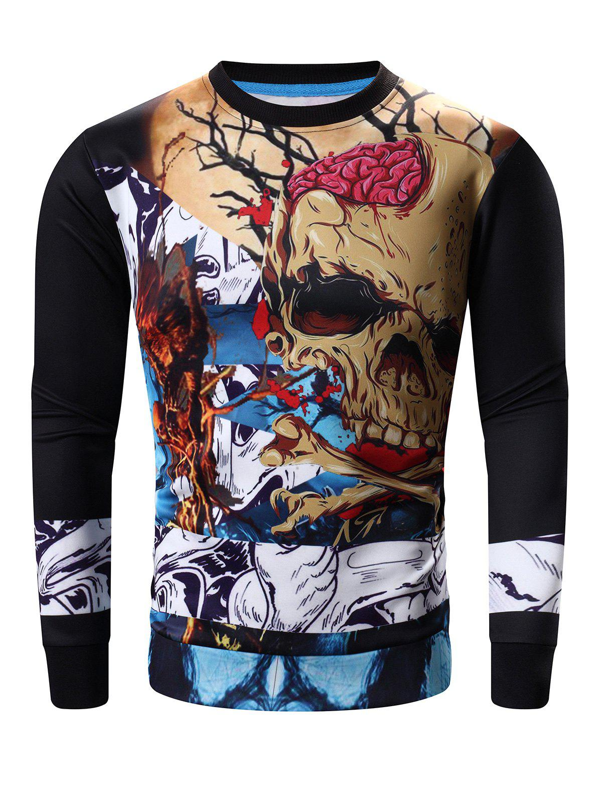 Round Neck Long Sleeve Abstract Skull Print Sweatshirt - BLACK L