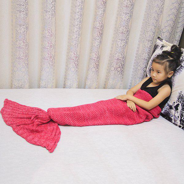 Magic Sofa Decor Kids' Knitted Mermaid Blanket - RED