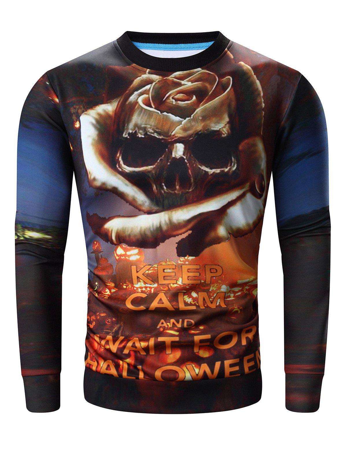 Round Neck Long Sleeve 3D Halloween Pumpkin Lamp and Skull Print Sweatshirt джемпер il gufo il gufo il003ebvfa50
