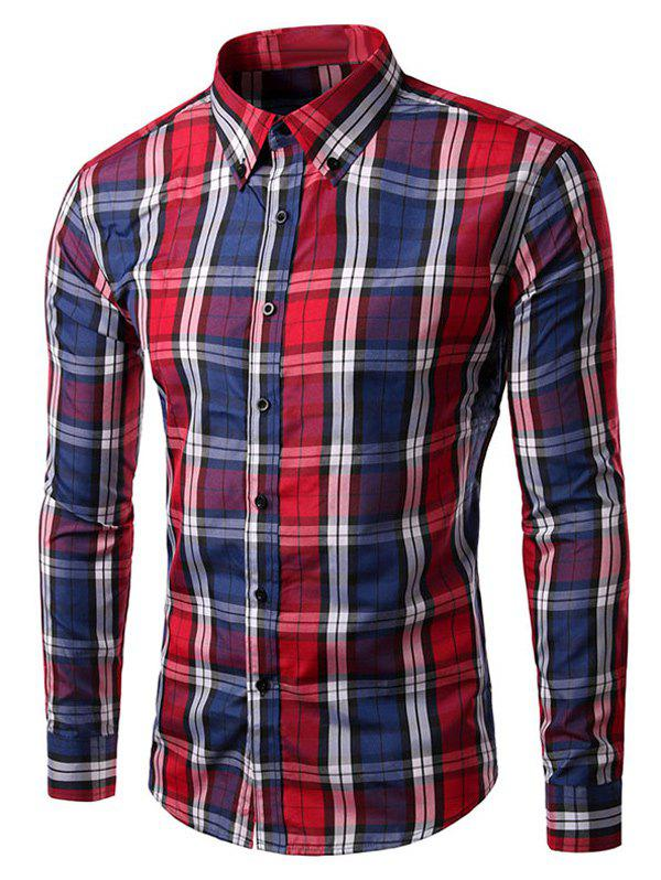 Long Sleeve Slim Fit Button-Down Checked Shirt - RED 3XL
