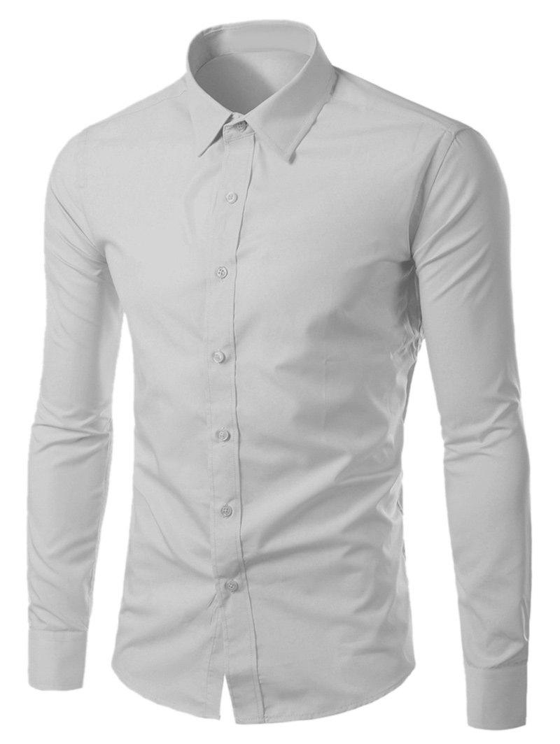 Long Sleeves Turn-down Collar Plain Shirt - LIGHT GRAY L