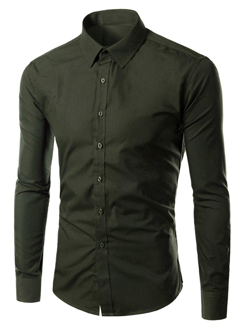 Long Sleeves Turn-down Collar Plain Shirt - BLACK GREEN XL