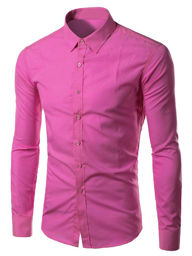 Long Sleeves Candy Color Turn-down Collar ShirtMen<br><br><br>Size: L<br>Color: PEACH RED