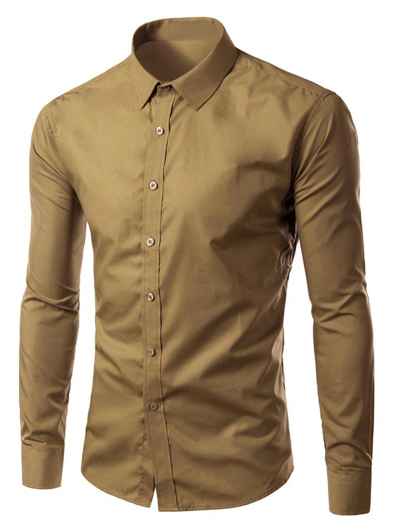 Long Sleeves Candy Color Turn-down Collar Shirt - KHAKI 2XL
