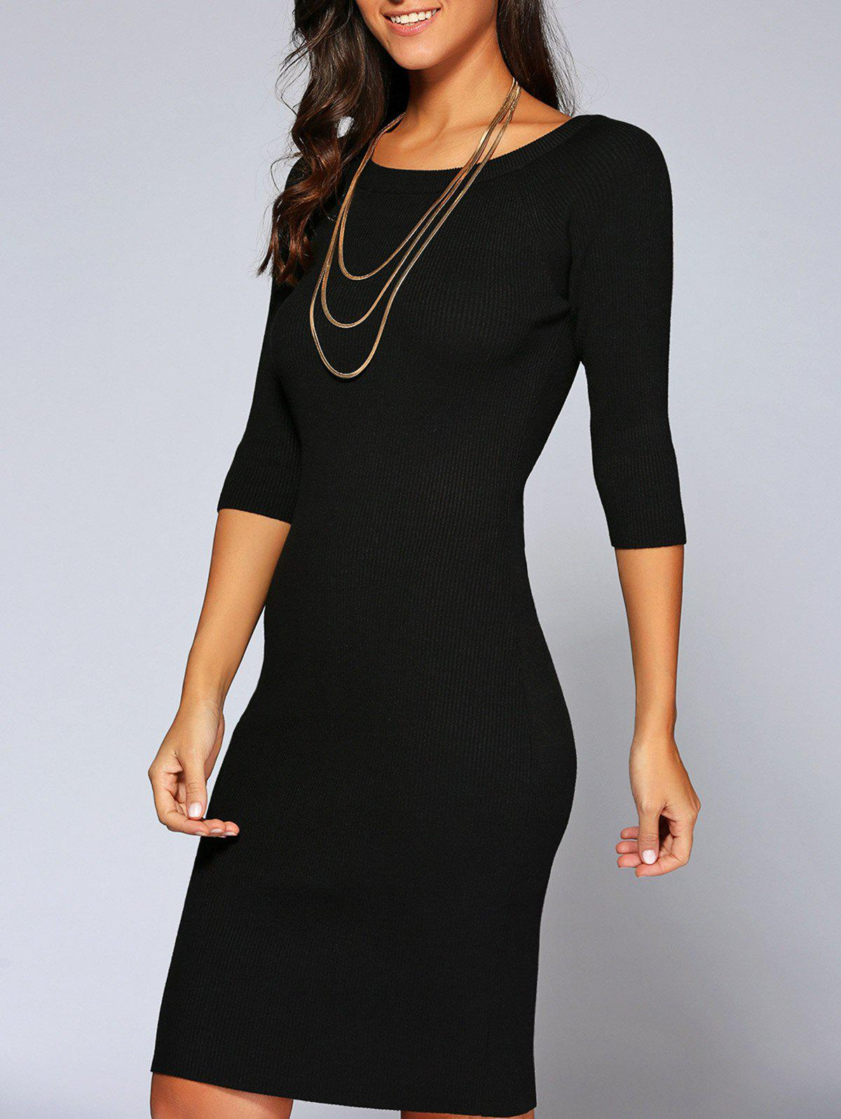 Concise 3/4 Sleeve Close-Fitting Knit Dress - BLACK ONE SIZE