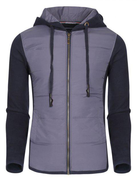 Color Block Polyester Splicing Design Hooded Thicken Men's Hoodie - SAPPHIRE BLUE 2XL