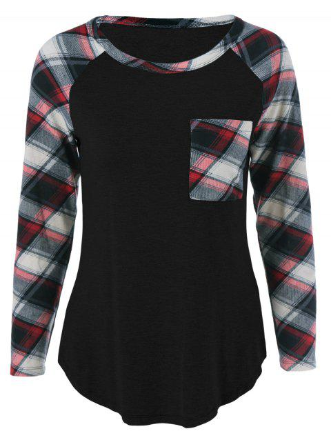 Single Pocket Plaid Full Sleeve T-Shirt - BLACK XL