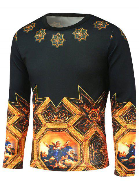 Long Sleeve Medieval Painting Pattern T-Shirt - BLACK/GOLDEN M