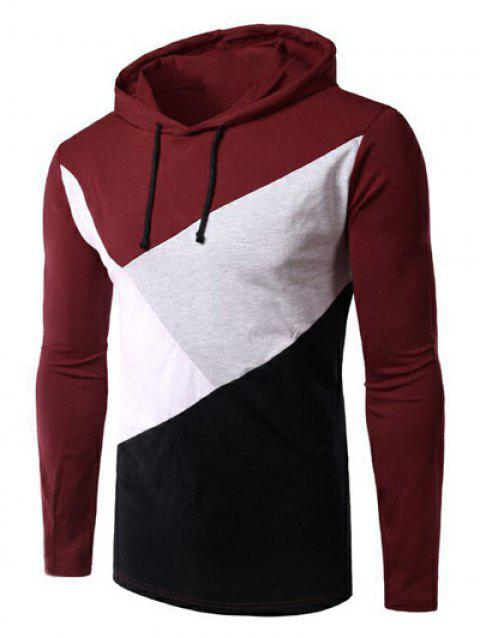Casual Color Block Spliced Long Sleeve Hoodie For Men - RED L