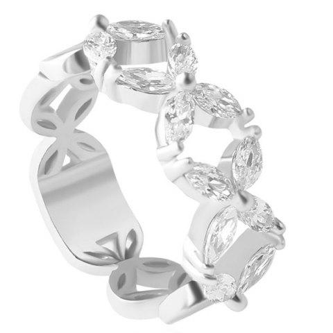 Faux Crystal Hollow Out Floral Ring - SILVER ONE-SIZE