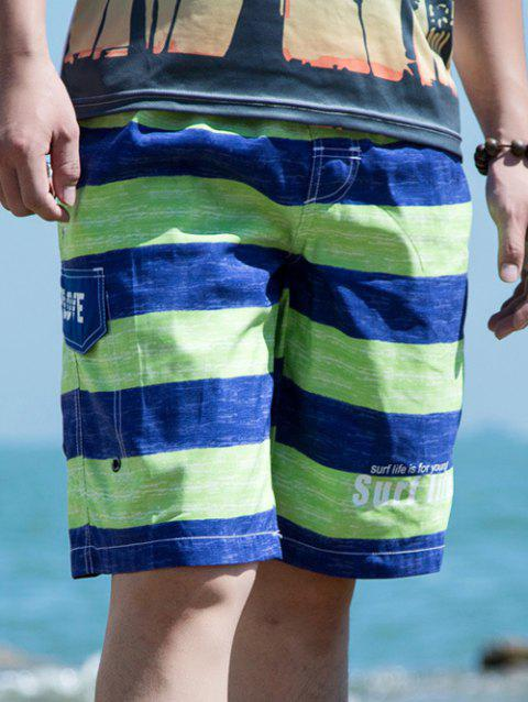 Drawstring Waist Striped Letter Printed Board Shorts - GREEN L