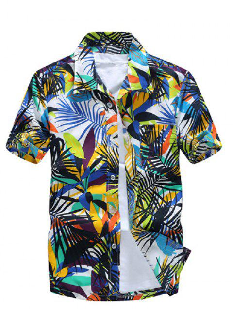Short Sleeve Leaf Printed Hawaiian Shirt - GREEN L